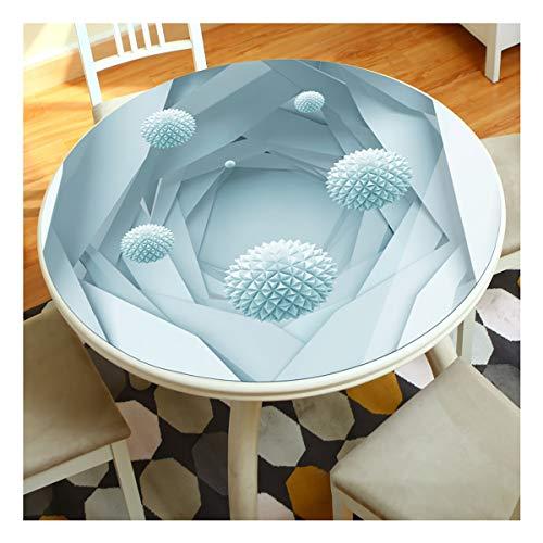 Mesa Redonda de PVC de Tela 3D Tridimensional de impresión Anti-escaldar Mantel Mesa de Cristal Suave desechable de la Sala Redonda Mesa de Mat zb (Color : C, Size : 60cm)