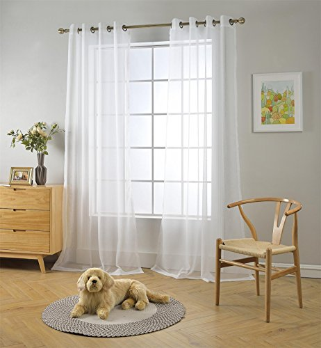"""Miuco 2 Panels White Curtains Grommet Textured Solid Sheer Curtains 84 Inches Long for Bedroom (2 x 54 Wide x 84"""" Long) White"""