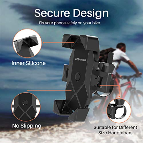 Portronics MoBike POR-1117 Unbreakable & Universal Mobile Phone Holder for Bike, Cycle, Scooty, Motorcycle, Ideal for Maps and GPS Navigation (Black)