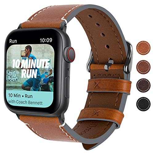 Fullmosa Kompatibel Apple Watch Armband44mm/42mm, Vintage Leder Band für Apple Watch Series 4 44mm, Nike+,Series SE Series 6/5/4/3/2/1, iWatch Ersatzband,Hellbraun + Dunkelgrau Schnlle 44mm