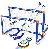 Wuudi Juego de Hockey, Hockey sobre Patines con 2 Goles y Pelota, Pelota de Fútbol para Interiores, Regalos para Niños de 4 5 6 7 8 9 10 11 12 Años