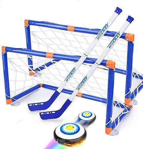 Wuudi Schweben Eishockey einstellen mit 2 Fußballtoren, Hover Hockey Set für Kinder Jungen Mädchen Fußballtor Garten