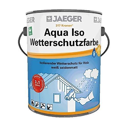 Jaeger Aqua ISO Wetterschutzfarbe für Holz, 3in1 (Grundierung-Isolierung-Deckanstrich), weiss seidenmatt (5,0 Liter)