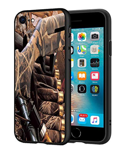 iPhone 7 Case, iPhone 8 Case, LOWORO Premium TPU Slim Shockproof Rubber Protective Case Cover for iPhone 7 / iPhone 8 (4.7 inch), Duck Hunting Camouflage Shotgun Bullets Decoy