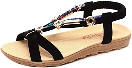 Realdo Bohemian Peep-Toe Flat Sandals, Summer Shoes Low Shoes Roman Slip-on Ladies Flip Flops