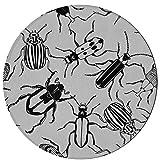 N\A Alfombrilla de Varios Tipos de Escarabajo Alfombra Decorativa 2 pies Redondo Antideslizante Microfibra Lavable a máquina Alfombra Vintage para Cocina Comedor Sala de Estar