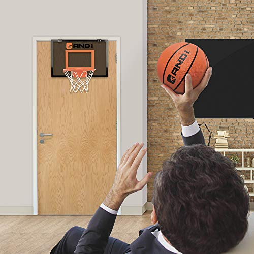 """/& Easy to Install AND1 Indoor Basketball Hoop 18/""""x12/"""" Mini Basketball Hoop Over the Door Game Set for Children /& Adults Portable"""