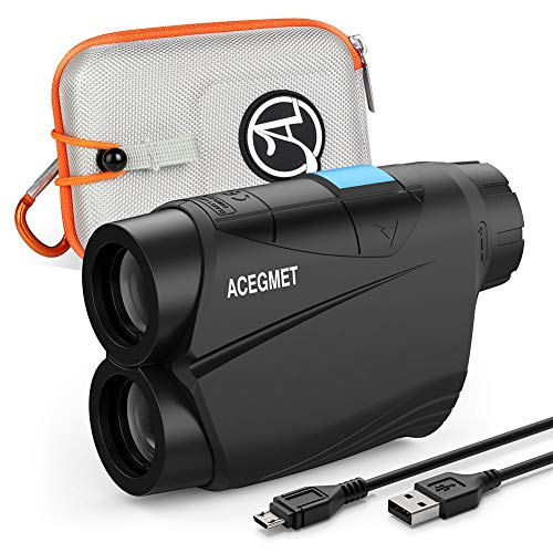 ACEGMET Golf Rangefinder, 650 Yards Range Finder for Golfers, Golf Rangefinder with Slope, Flag Lock and Pulse Vibration, Continuous Scan Golf Laser Rangefinder, 6X Magnification, Li-ion Battery