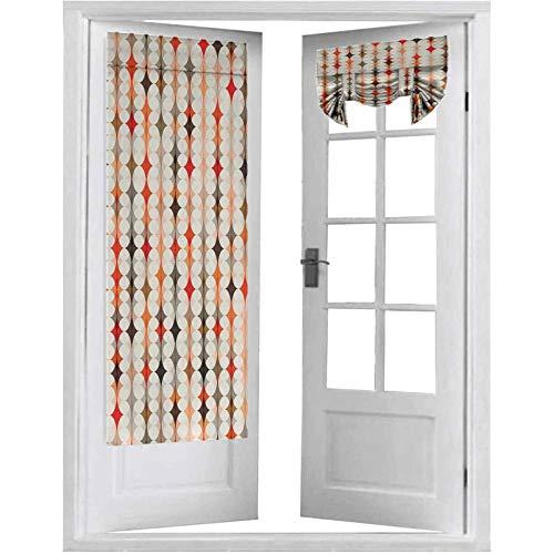 Cortinas francesas para puerta, diseño vintage ovalado con efectos de tono radiante, ilustración de mosaico, 1 panel de 66 x 172 cm para ventana, color crema, naranja y rojo