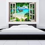 murando ILLUSIONE OTTICA 3D 140x100 cm Carta da parati sulla fliselina Carta da parati in TNT Quadri murali Fotomurale Finestra Mare Spiaggia Palma Barchetta