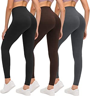 ZOOSIXX High Waisted Leggings for Women, Opaque Soft Slim Tummy Control Pants for Yoga Workout Running - 3 Pack (Black, Br...