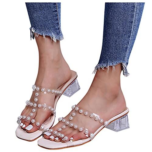 BIBOKAOKE Sandales d été pour femme à talons hauts avec perles - Sandales à talons épais - Chaussures d été élégantes et belles - Légères - Sandales de plage