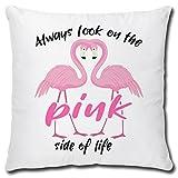 TRIOSK Kissen Flamingo Always Look on The Pink Side, Geschenk Frauen Freundin Dekokissen Bezug inkl....