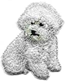 Embroidered Iron On Sew On Patch White Sitting Bichon Frise Dog Breed Great Quality Applique, 2' x 2 3/8'