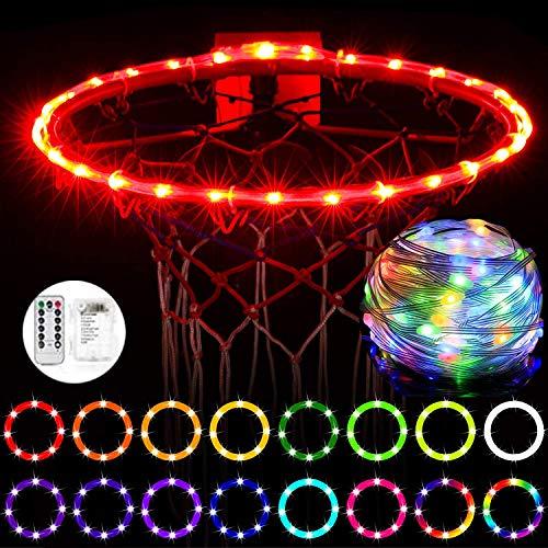 Luces LED de aro de Baloncesto, luz LED de Borde de Baloncesto con Control Remoto, Resistente al Agua, súper Brillante para Jugar en la Noche al Aire Libre, Buen Regalo para niños,20FT