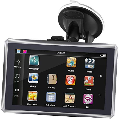 Akozon Navegación para automóvil Pantalla táctil de 5 Pulgadas Navegador Inteligente portátil para automóvil Navegación 128M 4GB FM Mapa Gratuito Roadtrips Car Roadtrip(Negro)