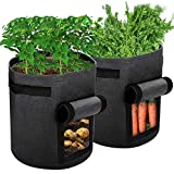 <span class='highlight'><span class='highlight'>Ankier</span></span> Potato Growing Bags, 2 pack 7 Gallon Vegetable Grow Bags Planter Container with Hook & Loop Window and Strap Handles - Non-woven Garden Plant Bags for Various Vegetables and Flower [Black]