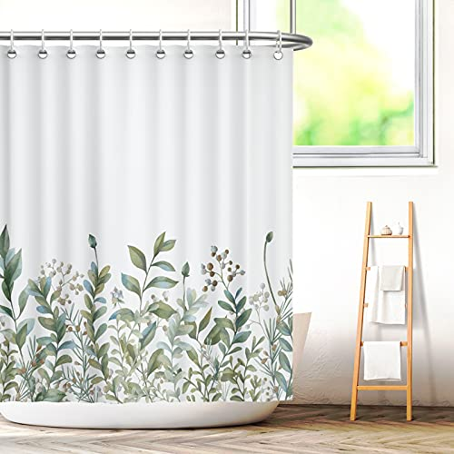 Aitsite Duschvorhang grüne Blätter Blumen Pflanzen Badezimmer Textil Vorhang mit Antischimmel Effekt waschbar Shower Curtain badewanne inkl. 12 C-Ringe Gewicht unten 180x180(BxH) cm
