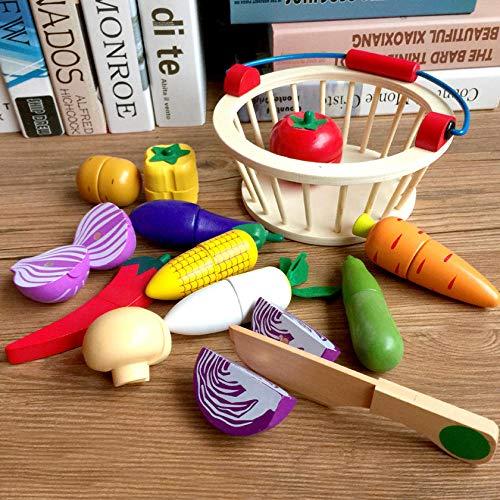 CTDMMJ Obstspielzeug, Massivholzgemüse, Obstspielzeug für Kindersimulationen-14er Set mit Holzkorb