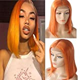 Perruque de cheveux humains en dentelle orange avec une perruque orange, 12'Perruque de cheveux courts en dentelle avec une longueur moyenne de 180% de densité moyenne