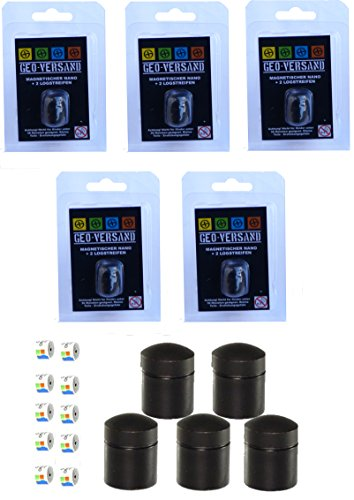 3 x Nano magnetisch mit 6 Logstreifen Geocaching Versteck, Behälter, Dose, Versteck, wasserdicht Micro