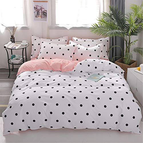 Enhome Duvet Cover Set Bedding Sets 4 Pieces, Reversible Polka Dot Printed Soft Microfiber Modern Duvet Set with Quilt Case Pillowcases Flat Sheet (150x200cm,Pink)