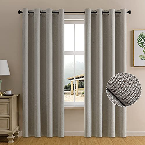 84 Inches Long Linen Blackout Curtains for Bedroom 2 Panels Warm Taupe Neutral Grey Beige 100% Darkening Window Drapes Primitive Burlap Tweed Woven Textured Farmhouse Natural Curtains for Living Room