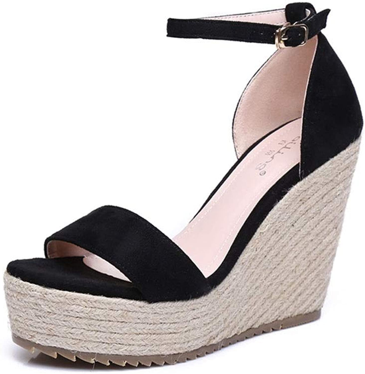 Sandals Sandals Women's Sandals Summer Wedge Sandals Fashion Simple Woven Sandals Soft Comfortable Women's shoes High Heels 10Cm (color   Black, Size   37)