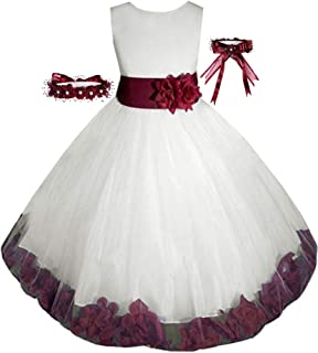 Free Matching Hair Wreath Big/Little Girls Flower Girl Communion Pageant Wedding Dress