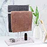 Hand Towel Holder for Bathroom, LKKL Fingertip Towel Holder Stand, Free Standing Towel Rack with Multi-Purpose Base for Bathroom Kitchen Vanity, Countertop Double-T Towel Holder with Soap Tray