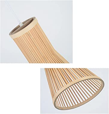 """Rattan Hanging Lamp Natural Cone Shaped 1 Light Bamboo Pendant Light Fixture for Kitchen Island Nursery (15.75"""" H)"""