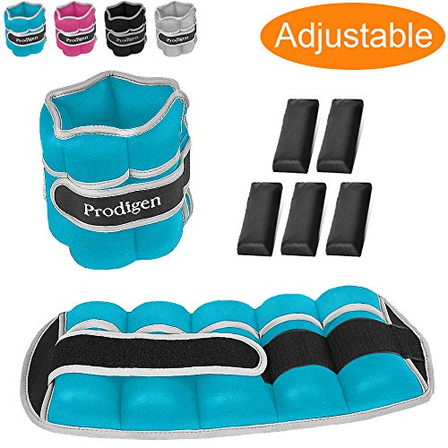 Prodigen Adjustable Ankle Weights Set for Men & Women Ankle Wrist Weight for Walking, Jogging, Gymnastics (Blue, 5lbs x2)