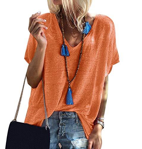 Camiseta Cuello V Mujer Oversize Larga Camisetas Manga Corta Escote V Mujeres Basicas Anchas Tops Verano Damas Casual Remeras Largas Chica Playeras Camisas Señora Blusas Amplias Túnico Naranja M