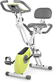 leikefitness LEIKE X Bike Ultra-Quiet Folding Exercise Bike, Magnetic Upright Bicycle with Heart Rate,LCD Monitor and easy to assemble 2200 (YELLOW)