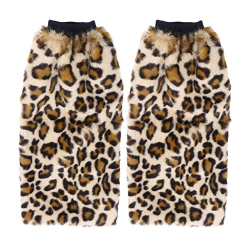 NUOBESTY Beinwärmer booten Manschette Webpelz Stiefel wärmere Langen Flauschigen Manschetten Decken für Frauen Mädchen 40cm (Leopard)