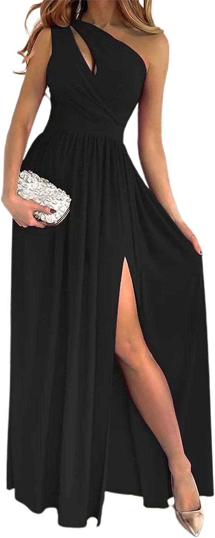 Summer Dress Solid Color Skew Neck Formal Dress High Waist One S