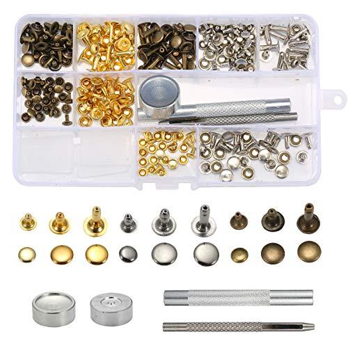 MJJEsports 135 stks Single Cap klinknagels Metalen lederen klinknagels met 3 stuks gereedschap kits voor klinknagels vervangers