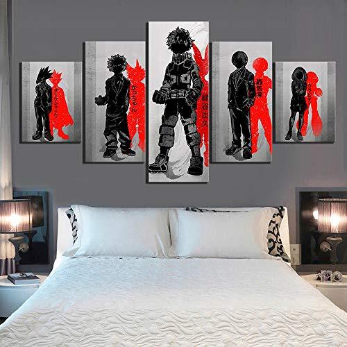 YBYBYB Pintura decorativa em tela, 5 peças, arte de parede, sala de estar, sem moldura, arte de parede, 5 painéis, My Hero Academia, pôsteres de anime, imagem moderna para sala de estar, decoração de casa DDZZYY