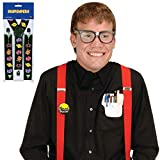 80's Eighties Nerd Kit Costume with Arcade Suspenders | Includes Taped Eyeglasses, Pocket Protector, Button, and Suspenders