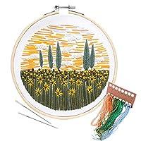 Unime 刺繍スターターキット パターンフルレンジ刺繍キット 刺繍布 刺繍フープ カラースレッド 針 Embroiderykit