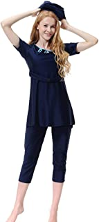 Yamart Women Muslim Bathing Suit With Cap Printing Solid color Comfortable Conservative Swimsuit belt Beachwear Women Swimwear