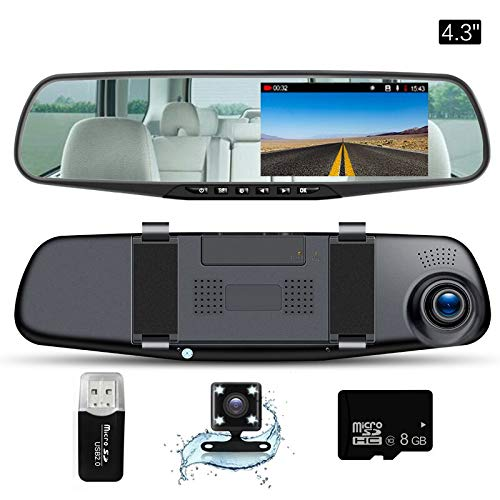 "Mirror Dash Cam  4.3""LCD Screen FHD 1080P 140° Wide Angle Dual Lens Car Camera Front And Rear Dashboard Camera DVR With 8GB SD Card"