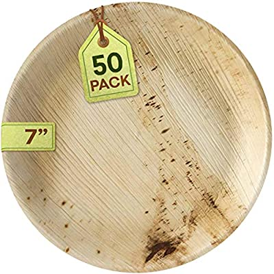 "[50 Pack] Eco-Friendly Palm Leaf Plates - Like Bamboo Plates Disposable - Compostable and Biodegradable Round Plates - 50 x 7"" Plates"