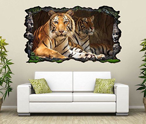 3D Wandtattoo Tiger Augen Tier Kopf Raubkatze Bild selbstklebend Wandbild sticker Wohnzimmer Wand Aufkleber 11G732, Wandbild Größe F:ca. 97cmx57cm