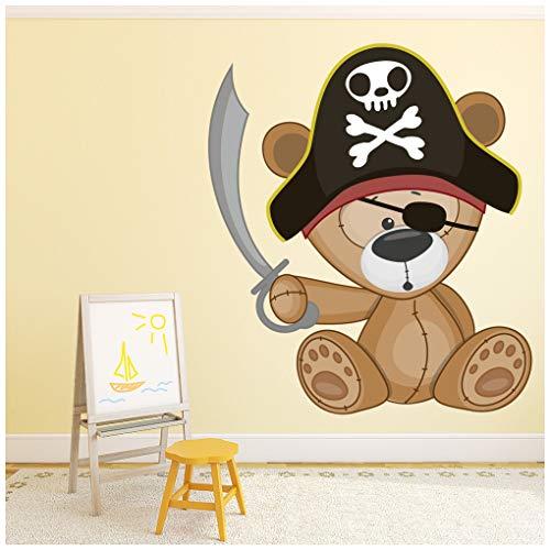 Vinilo con diseño de oso pirata para niños.