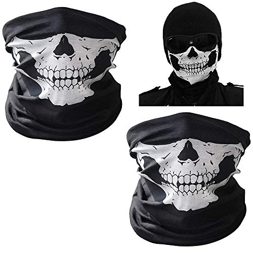 UBERMing 2 Piezas Máscara de Calavera Pasamontañas Bandana de Calavera Máscara Mágica para Halloween Motocicletai Máscara para Moto Bici Senderismo Camping