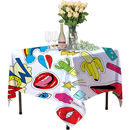 Patch Badges with Lips Hearts starseyesshoescatbananaflower and etcRetro pop Art styleCollection of Stickers and Patches in Cartoon 80s 90s Style_496600882black Tablecloth for 4ft tableTablePartyta