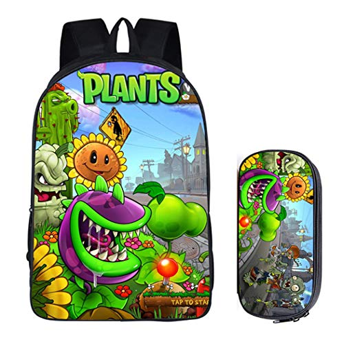 WANHONGYUE Plants vs. Zombies Image Printing Rucksack Students School Bag Stationery Pencil Case Backpack Set /3