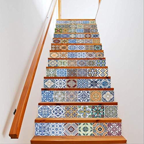 Pegatinas De Decoración De Escalera De Patrón De Mosaico Vintage Pegatinas De Escalera De Estilo Árabe Para El Hogar 18 * 100 Cm * 13 Piezas