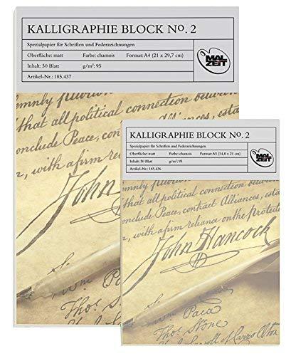 185436–2 – Double Pack = 2 x calligraphie Bloc N ° 2, 50 feuilles, 95 g/m², taille A5, véritable spitzenmässiges Produit.